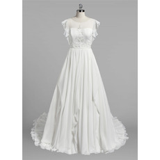 Elegantly Beaded Appliques A-Line Ivory Chiffon Wedding Dresses with Flutter Sleeves