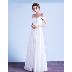 Discount Simple Beach White Pleated Chiffon Wedding Dresses