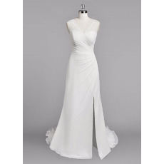 Perfect Sheath Lace V-Neck Sleeveless Floor Length Chiffon Wedding Dresses with Side Split