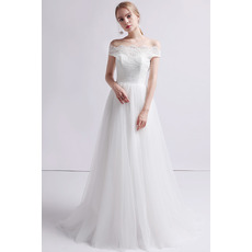 Classy A-Line Off-the-shoulder Full Length Tulle Wedding Dresses with Lace Bodice