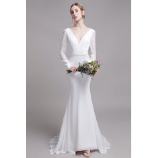 Plunging V-back Mermaid V-Neck Chiffon Wedding Dress with Long Sleeves