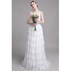 Attractive Slender Straps Tiered Lace Wedding Dresses with Daring Low Back