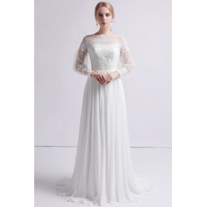 Glamorous Dreamy Illusion Back Chiffon Skirt Wedding Dresses with Long Tulle Sleeves