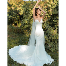 New Arrival Delicate Beaded spaghetti straps Chapel Train Wedding Dresses