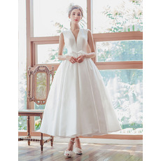 Simple Ball Gown Deep V-Neck Tea Length Satin Wedding Dresses with Back Lace Up Closure