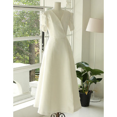 Elegance Short Sleeves V-Neck Tea Length Reception Bride Gowns with Strappy Back