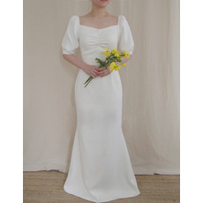 Simple Square Neck Full Length Satin Wedding Dresses with Bubble Sleeves