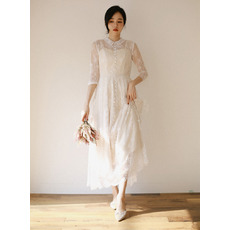 Lovely Doll Collar Ankle Length Lace Bridal Dresses with 3/4 Long Sleeves