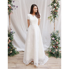 Elegant V-Neck Short Sleeves Satin Lace Wedding Dresses with Buttons