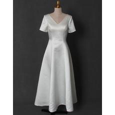 Vintage Simple V-Neck Tea Length Satin Bridal Dress with Short Sleeves and Keyhole Back