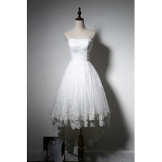 Perfect A-Line Strapless Asymmetrical Hi-low Hemline Lace Tulle Wedding Dresses with Midi length