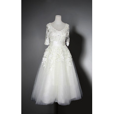 Romantic Round/Scoop Neckline Knee Length Appliques Tulle Bridal Dresses with Half Sleeves
