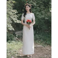 Vintage Simple Ankle-length Bateau Neckline Satin Wedding Dresses with Short Sleeves
