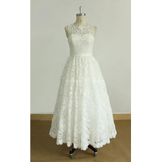 Vintage Tea-Length Lace Reception Wedding Dresses with Covered Buttons Back