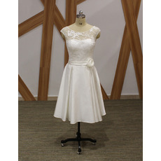 A-Line Sleeveless Knee Length Satin Bridal Dresses with Lace Bodice