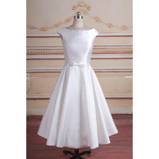 Cute Simple A-Line Tea-Length Satin Reception Bridal Dresses with Slight Cap Sleeves