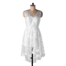 Affordable A-Line Double V-Neck High-Low Short Lace Beach Wedding Dresses