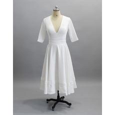Simple Deep V-neckline Tea-Length Satin Bridal Dresses with Half Sleeves