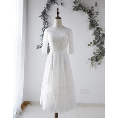 Sexy Deep V-back Tea-Length Lace Wedding Dresses with Half Sleeves