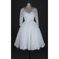 Affordable V-Neck Knee Length Reception Wedding Dresses with 3/4 Long Sleeves