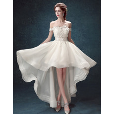 Modern and Romantic Illusion Bodice Off-the-shoulder High-Low Organza Wedding Dresses