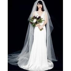Simple Sheath Double V-Neck Satin Wedding Dresses with Pleated Detail