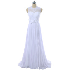 Elegant Jewel Neckline Pleated Chiffon Wedding Dresses with Beaded Lace Bodice
