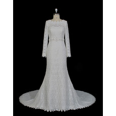 Plunging V-back Beaded Waistband Court Train Lace Wedding Dresses with Long Sleeves