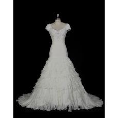 Gorgeous Crystal Beading Court Train Chiffon Wedding Dresses with Exquisitely Ruffle Layered