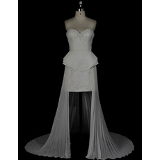 Stylish Beaded Sweetheart High-Low Wedding Dresses with Peplum Waist and Pleated Chiffon Train
