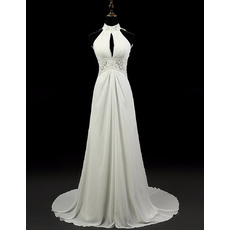 Beautiful Pleated Bust Empire Chiffon Wedding Dresses with Beading Crystal Embellished Neckline and Waist