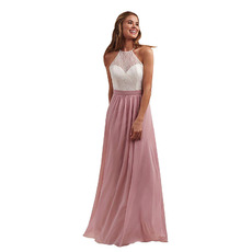 SexyLow Back A-Line Illusion Sweetheart Full Length Chiffon Bridesmaid Dresses