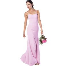 Simple Elegant Sheath Spaghetti Straps Full Length Satin Bridesmaid Dresses