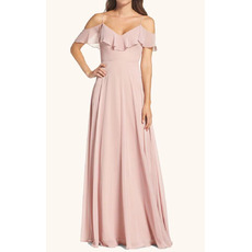 Inexpensive A-Line Spaghetti Straps Cold Shoulder Long Length Chiffon Bridesmaid Dresses