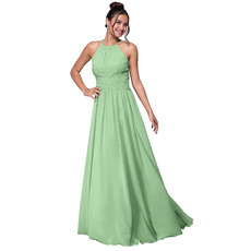 Discount A-Line Spaghetti Strap Full Length Pleated Chiffon Bridesmaid/ Party Dresses