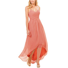 Affordable Sexy Sweetheart High-Low Long Pleated Chiffon Bridesmaid Dresses