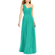 Affordable A-Line One Shoulder Full Length Pleated Chiffon Bridesmaid Dresses