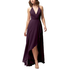 Simple Discount V-Neck High-Low Chiffon Bridesmaid Dresses with Slight Pleated Detail