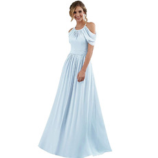 Modest Halter Exposed-Shoulder Full Length Pleated Chiffon Bridesmaid Dresses