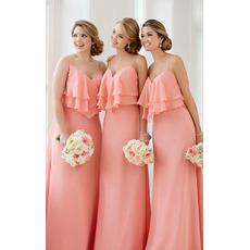 Custom Spaghetti Straps Sweetheart Long Chiffon Bridesmaid Dresses