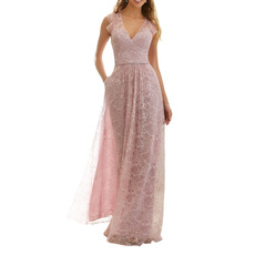 Chic Perfect V-Neck Lace Wedding Guest/ Evening/ Prom Dresses with Beadings Detail