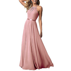 Perfect Slender Straps Full Length Flowing Chiffon Bridesmaid/ Evening Dresses