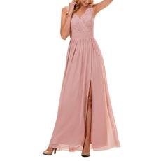 Elegance Spaghetti Straps Full Length Chiffon Bridesmaid Dresses with Trim Capelet