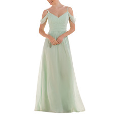 Elegance Exposed-Shoulder Ruched Bodice Full Length Chiffon Bridesmaid Dresses