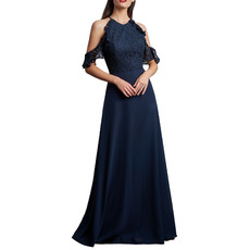 Elegance Exposed-Shoulder Full Length Lace Bodice Bridesmaid Dresses