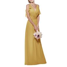 Flattering V-neck Spaghetti Straps Full Length Chiffon Bridesmaid Dresses with Ruffled Detail
