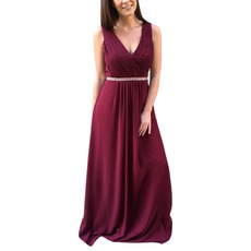 Ethereal Ruched Bodice V-Neck Full Length Chiffon Wedding Gust Dresses with Crystal Waist