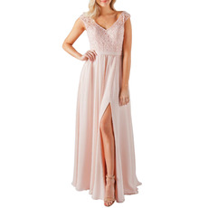 Flattering V-Neck Full Length Chiffon Bridesmaid Dress with Side Slit