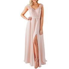 Flattering V-Neck Full Length Chiffon Bridesmaid Dress with Side Slit