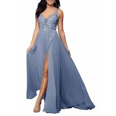 Sexy Wide Straps V-Neck Chiffon Beaded Applique Bodice Bridesmaid Dress with Side High Slit